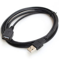 2 meter black usb extension cable