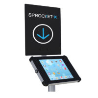 Black sign panel for tablet enclosure