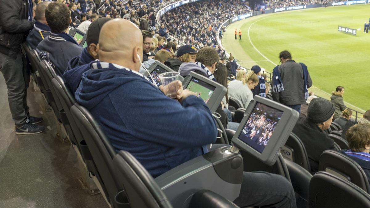 In situ custom tablet enclosures for AFL etihad stadium