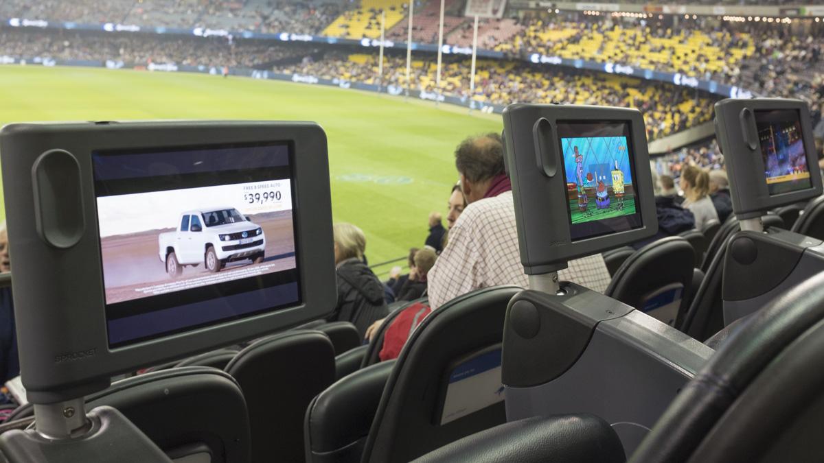 In situ of three etihad stadium custom tablet enclosures