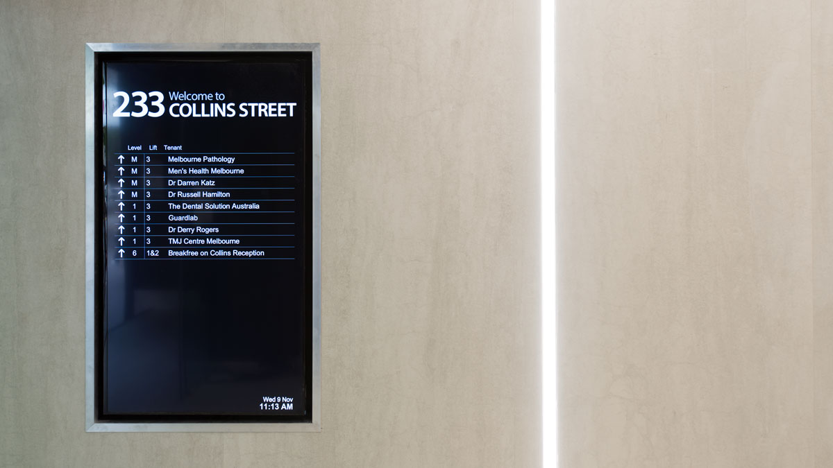 Digital directory board at 233 Collins Street close up