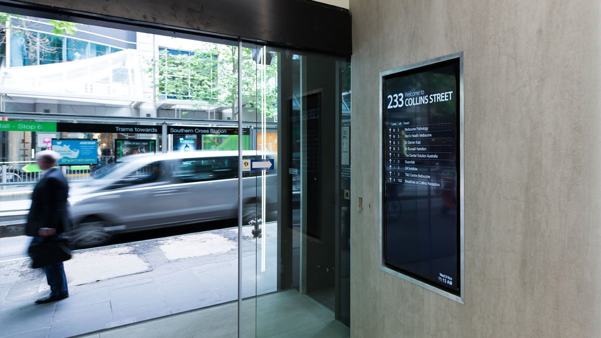 Digital directory board Collins Street