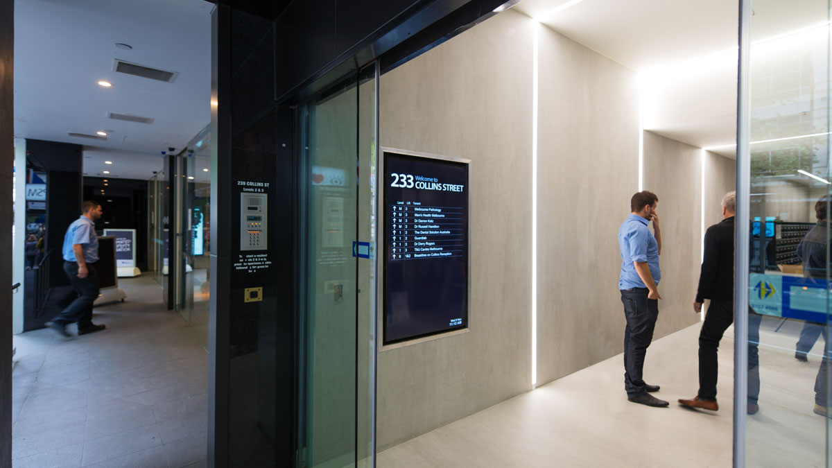 Wall mounted Digital directory board at 233 Collins Street