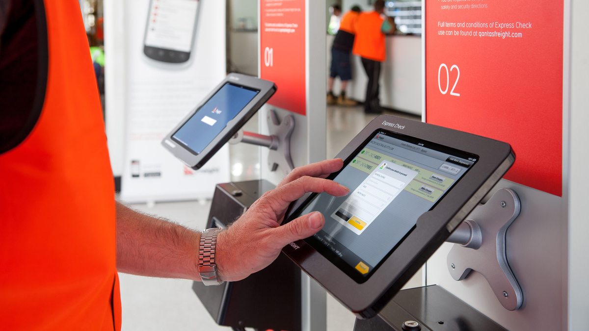 X Display Tablet Stand at Qantas Freight Terminal