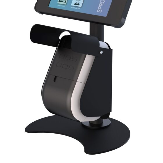 X Desk + Label Tablet Desk Stand with Integrated Label Printer Showing Printer Cover open