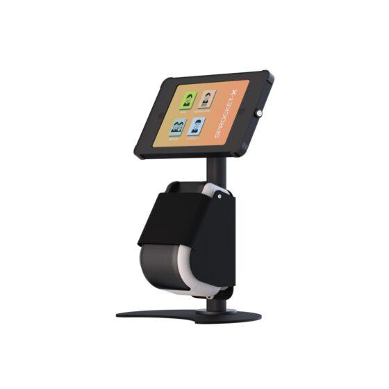 X Desk + Label Tablet Desk Stand with Integrated Label Printer Orange Screen