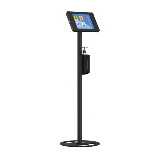 X Floor + Sanitiser Secure iPad and Tablet Floor Stand with Integrated Hand Sanitiser All Black version