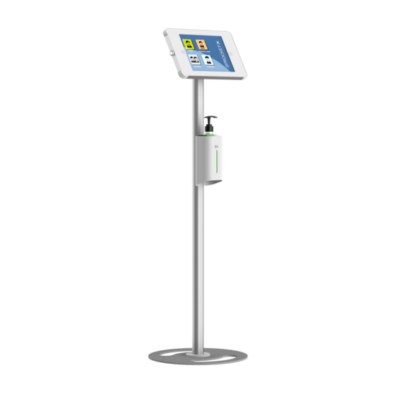 X Floor + Sanitiser Secure iPad and Tablet Floor Stand with Integrated Hand Sanitiser White and Silver version