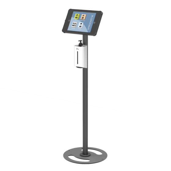 X Floor iPad and Tablet Stand with Integrated Hand Sanitiser Side View