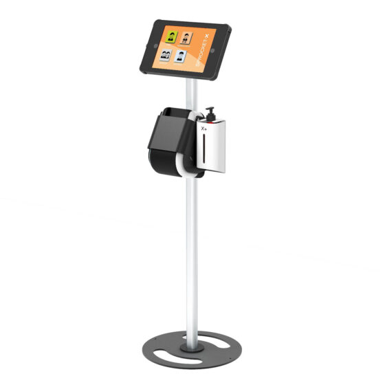 X Floor iPad and Tablet Stand with Integrated Label Printer and Hand Sanitiser Side View