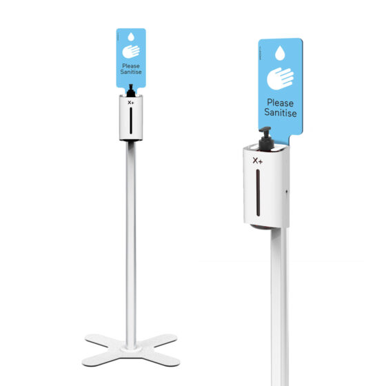 X+ Hand Sanitiser Floor Stand Overall and Close up with Standard Blue Sign