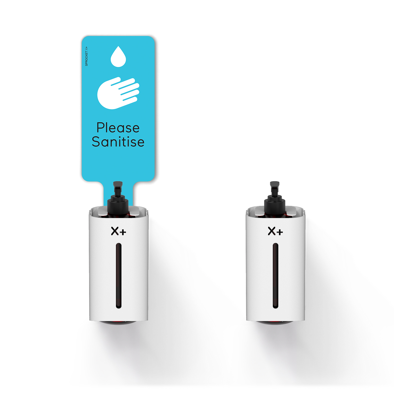 X+ Wall Hand Sanitiser Wall Mount Station with and without Aqua Please Sanitise Sign