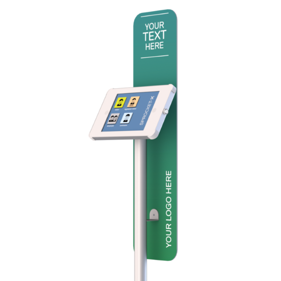 X Floor Stand for iPads and Tablets with Long Sign Panel. White and Silver Version shown with Green Generic Sign
