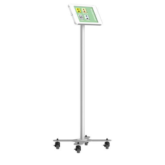 X iPad and Tablet white and silver Floor Stand with Caster Wheels for 10 inch tablet