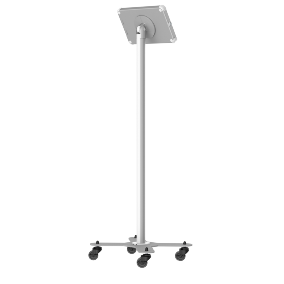 X iPad and Tablet white and silver Floor Stand with Caster Wheels for 10 inch tablet rear view